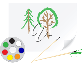 Children's drawing a brush tree on a paper