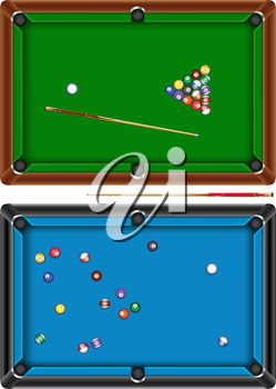 The billiard table with a cue and balls isolated on a white background