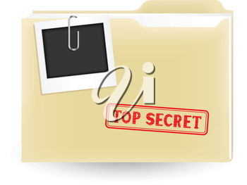 The secret files, closed yellow folder with stamp and photo on the white background