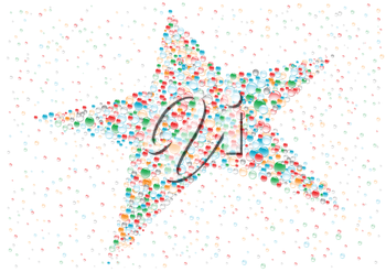 Color drops star on the white background