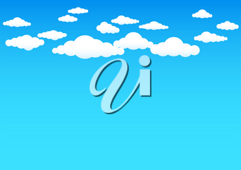 Cartoon cloud.. Group of clouds on blue sky background. Nature backdrop
