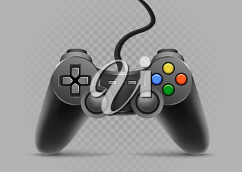 Gamepad with shadow on gray transparent background
