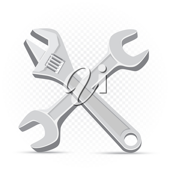 Wrench repair icon on white transparent background. Work equipment sign. Industrial tool symbol