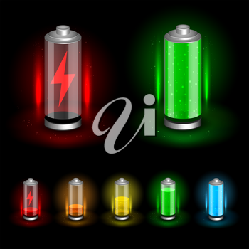 Battery accumulator icon set on dark black background. Glossy batteries collection with green red orange yellow blue indicator color charge. Easy to edit width height thickness and charge