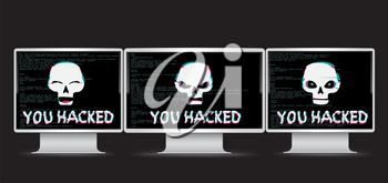 Funny and angry white hacker skull with you hacked text on monitor device with black screen and source code on background. Computer crime hacked attack illustration