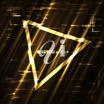 Glitch golden triangle light shape template. Abstract glitched gold vector frame design backdrop