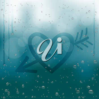 Heart with Cupid arrow draw on rainy window. Water drops flow down on dark blue bokeh background. Romance love bubble droplets backdrop. Sadness romantic rain bubbles template on a glass surface