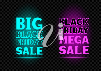 Blue and pink big friday sale neon message label set on transparent dark black background. Business communication dialog or quote template collection sign.