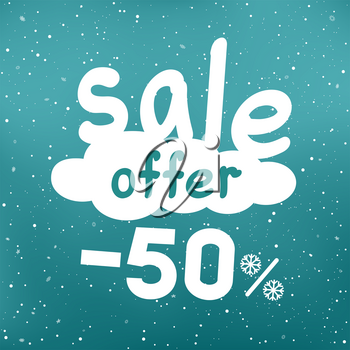Winter sale offer text on white cartoon cloud with discount and snow falling. Seasonal discounts sticker