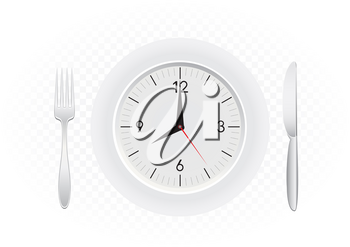 Tablewares indicate time to breakfast. Plate with clock, fork and knife on white transparent background