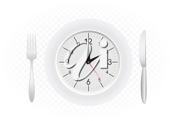 Tablewares indicate time to dinner. Plate with clock, fork and knife on white transparent background
