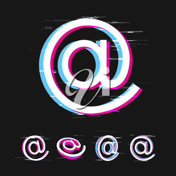 Email and social media glitch sign set on dark black background. Internet network communication symbol with pink and blue error effect