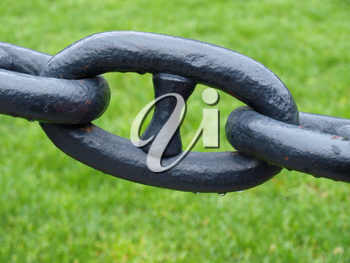 Single chain link on a background of green grass after rain