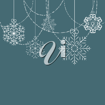 Christmas Snowflakes Blue Background Vector Illustration EPS10