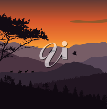 Image Mountains, Landscape and Trees. Abstract Eco Banner. Vector Illustration  EPS10