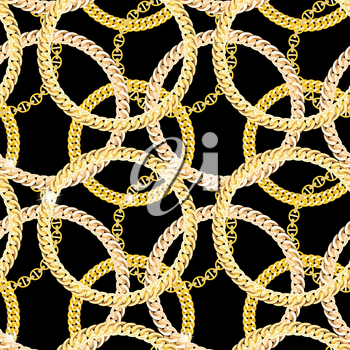 Gold Chain Jewelry Seamless Pattern Background. Vector Illustration. EPS10