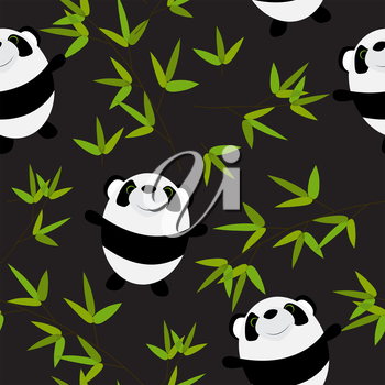 Cute Little Panda with Bamboo Leaves Seamless Pattern EPS10