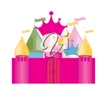 Pink Fairytale Castle. Isolated Vector Illustration. EPS10
