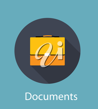 Documents Flat Concept Icon Vector Illustration. EPS10