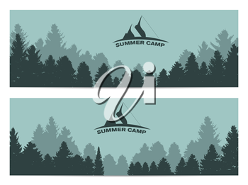 Summer Camp. Image of Nature. Tree Silhouette. Vector Illustration EPS10