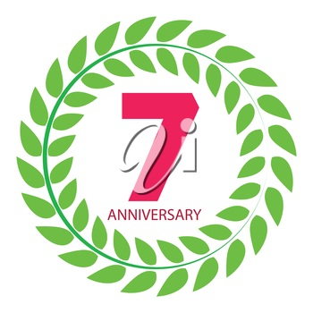 Template Logo 7 Anniversary in Laurel Wreath Vector Illustration EPS10
