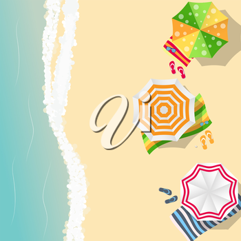 Summer Time Background. Sunny Beach in Flat Design Style Vector Illustration EPS10