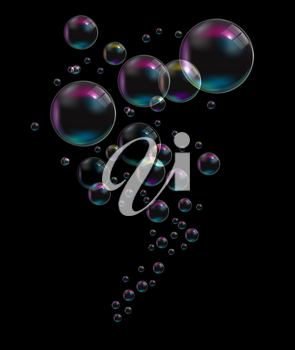 Transparent Bubbles on Black Background. Vector Illustration. EPS10