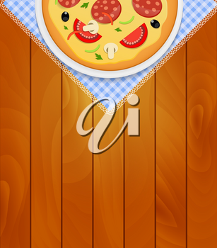 Pizza in White Plate on Kitchen Napkin at Wooden Boards Background Vector Illustration EPS10