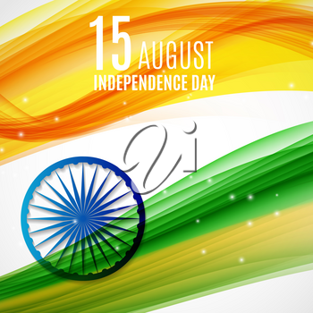Indian Independence Day Background with Waves and  Ashoka Wheel. Vector Illustration