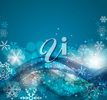 Abstract Christmas and New Year Wave Background with Lights and Snowflakes. Vector Illustration EPS10
