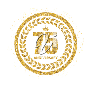 Template 75 Years Anniversary Vector Illustration EPS10