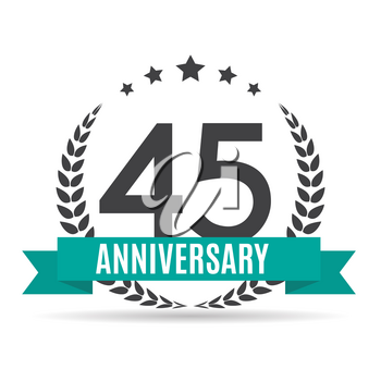 Template 45 Years Anniversary Vector Illustration EPS10