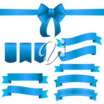 Blue Ribbon and Bow Set. Vector illustration EPS10