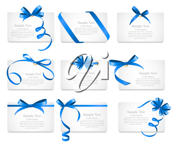Card with Blue Ribbon and Bow Set. Vector illustration EPS10