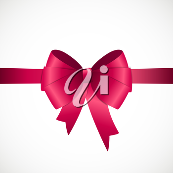 Gift Card with Pink Ribbon and Bow. Vector illustration EPS10