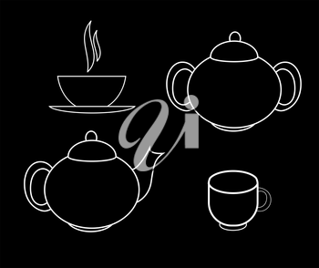 Tea Icons Vector Illustration on black background