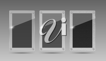 Realistic Glass Frames on Gray Background. Vector Illustration.