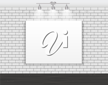 Frame on Brick Wall for Your Text and Images, Vector Illustration