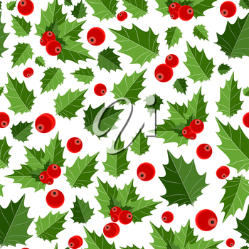 Abstract Beauty Christmas Berry Seamless Pattern Background. Vector Illustration. EPS10