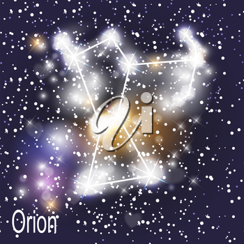 Orion Constellation with Beautiful Bright Stars on the Background of Cosmic Sky Vector Illustration. EPS10