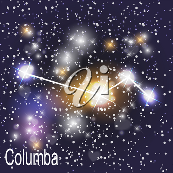 Columba Constellation with Beautiful Bright Stars on the Background of Cosmic Sky Vector Illustration. EPS10