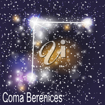 Coma Berenices Constellation with Beautiful Bright Stars on the Background of Cosmic Sky Vector Illustration. EPS10