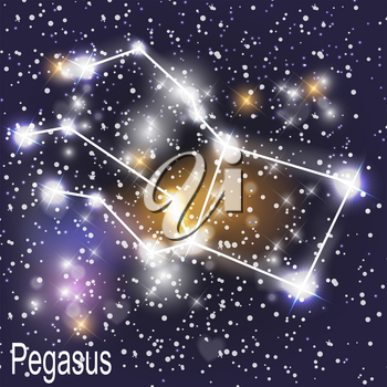 Pegasus Constellation with Beautiful Bright Stars on the Background of Cosmic Sky Vector Illustration. EPS10