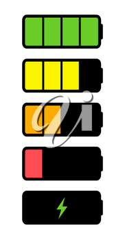 Battery Icon collection set isolated on white. Vector Illustration EPS10