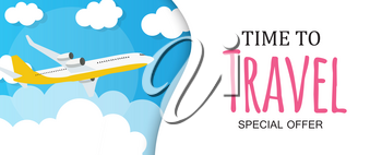 Time to Travel Template Background with Airplane. Vector Illustration EPS10