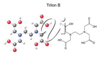 Structural chemical formula of  trilon B - EDTA, 2d and 3d illustration, isolated on white background, vector, eps 8
