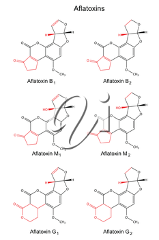 Structural chemical formulas of aflatoxins (B, M, G) with marked variable fragments, 2d illustration, vector, isolated on white