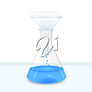 Filtration of water solution in a conical flask on table,lab glassware, 3d vector, eps 10