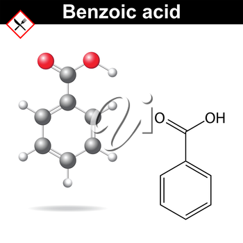 Benzoic acid - food and cosmetic preservative, E210 additive, chemical formula and model, 2d & 3d vector on white background, eps 8