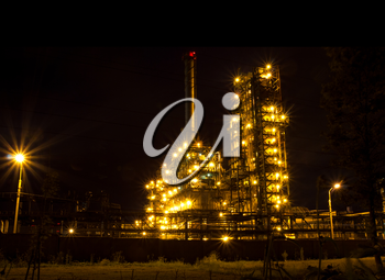 The glow of lights refinery with constant cycle. Russia, Yaroslavl